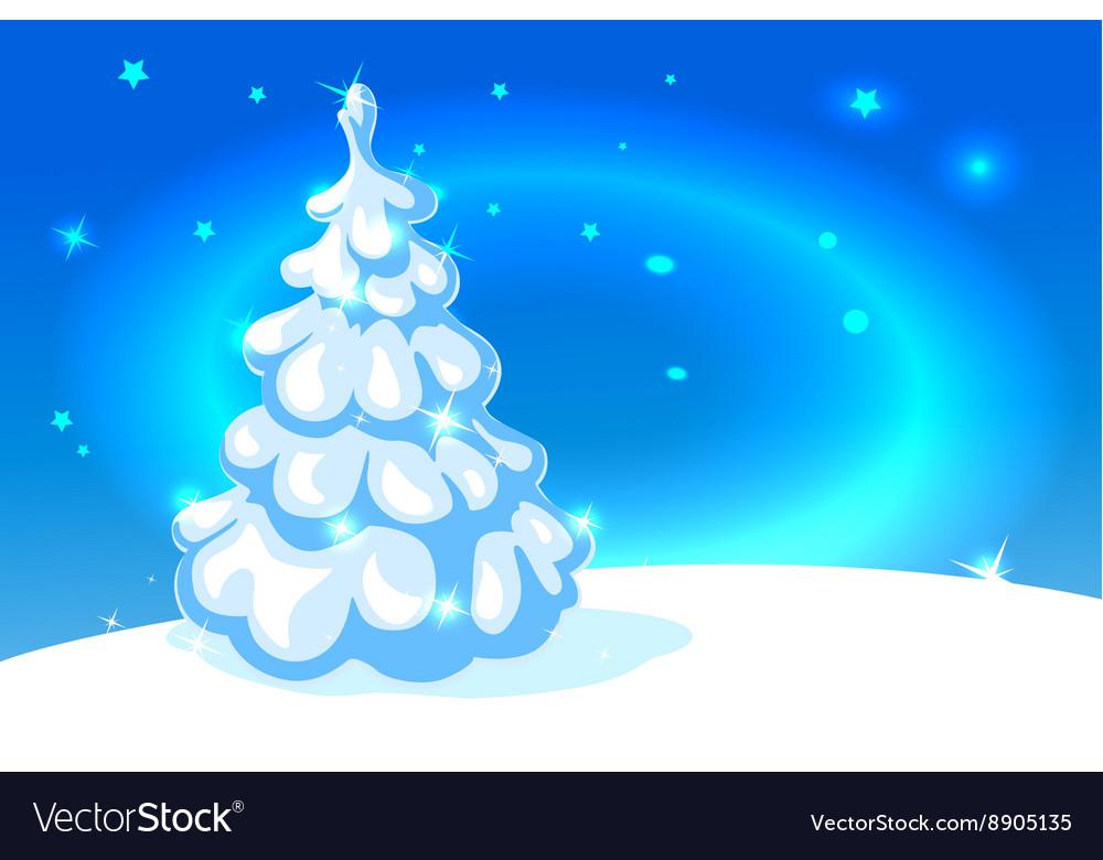 White Christmas Tree On Blue Shining Background