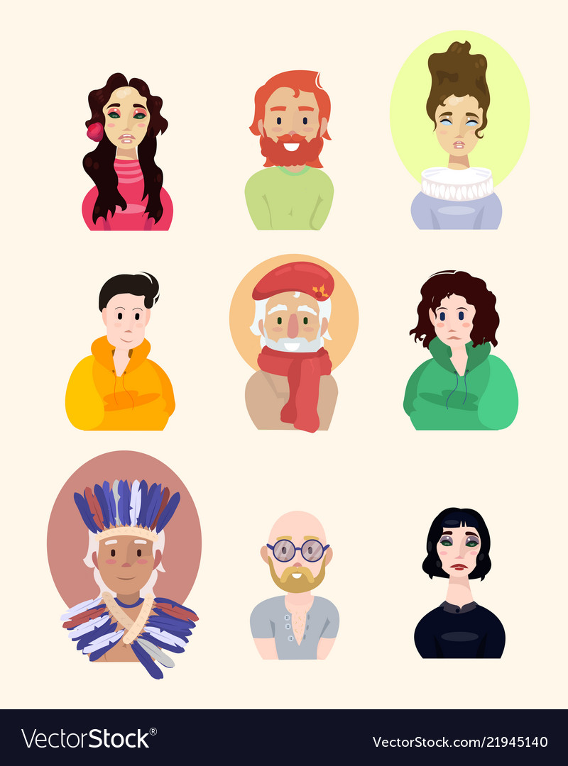 Assembled set of different beautiful people on