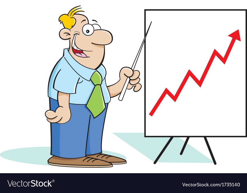Cartoon Man with a Chart vector image