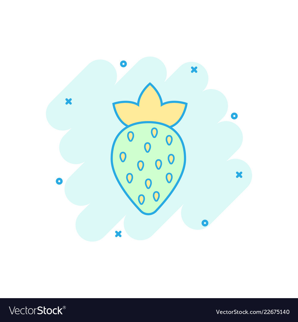 Cartoon strawberry fruit icon in comic style ripe