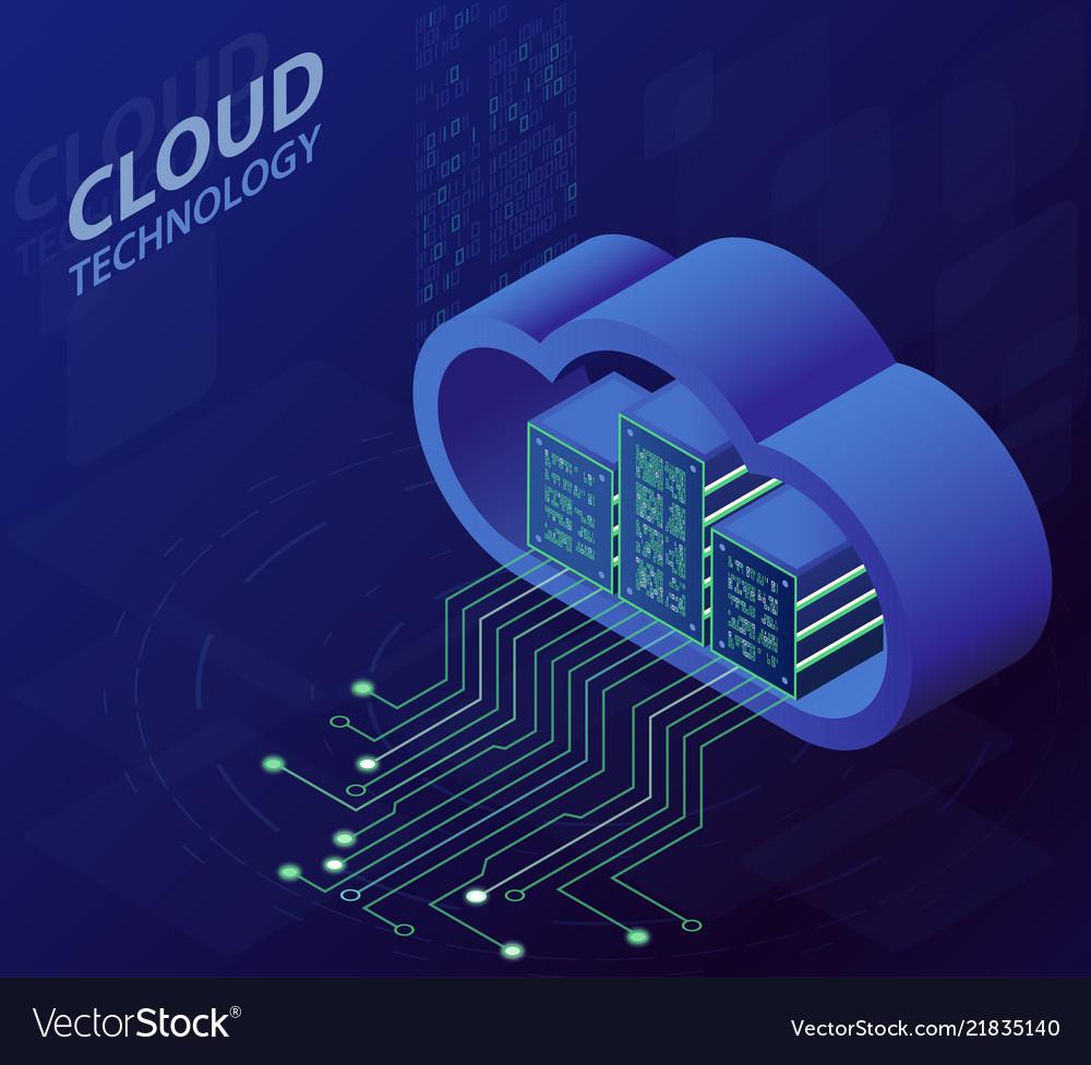 Cloud technology isometric concept modern