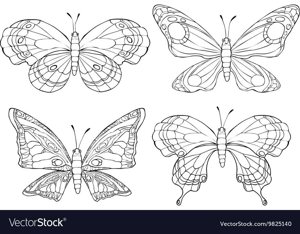 Collection of pretty cartoon butterflies isolated vector image