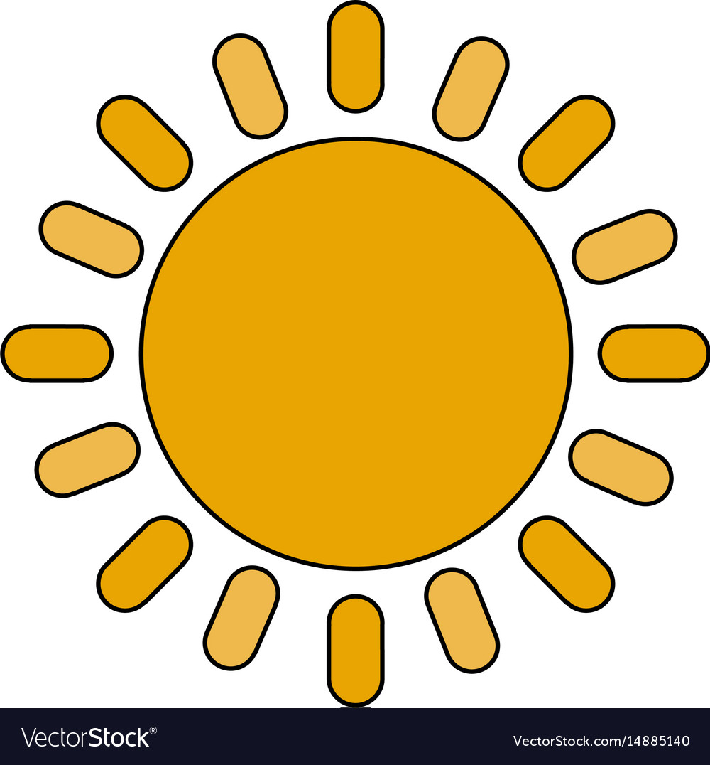 Color image cartoon sun with brigntness rays