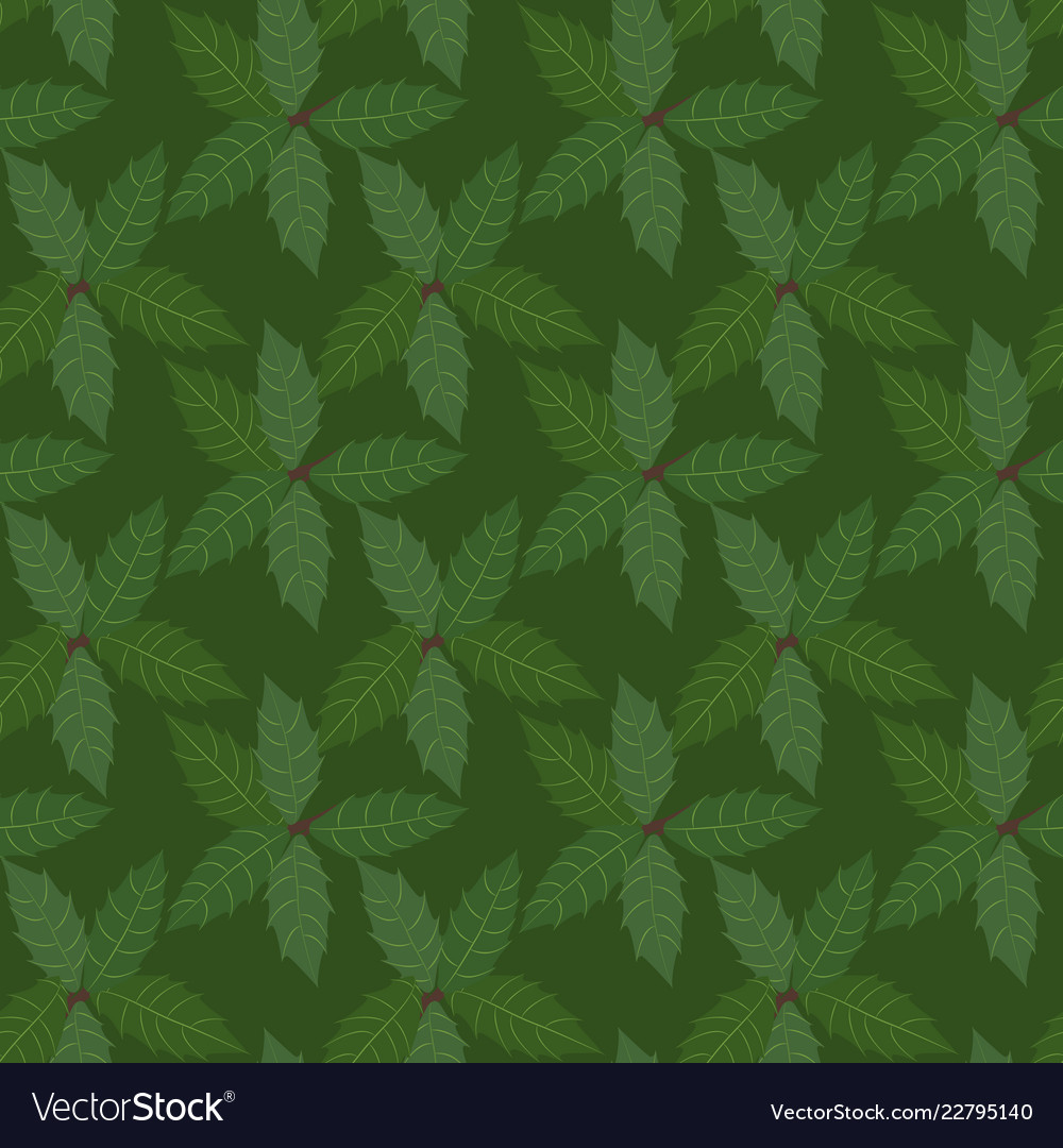 Green leaves holly plant background seamless
