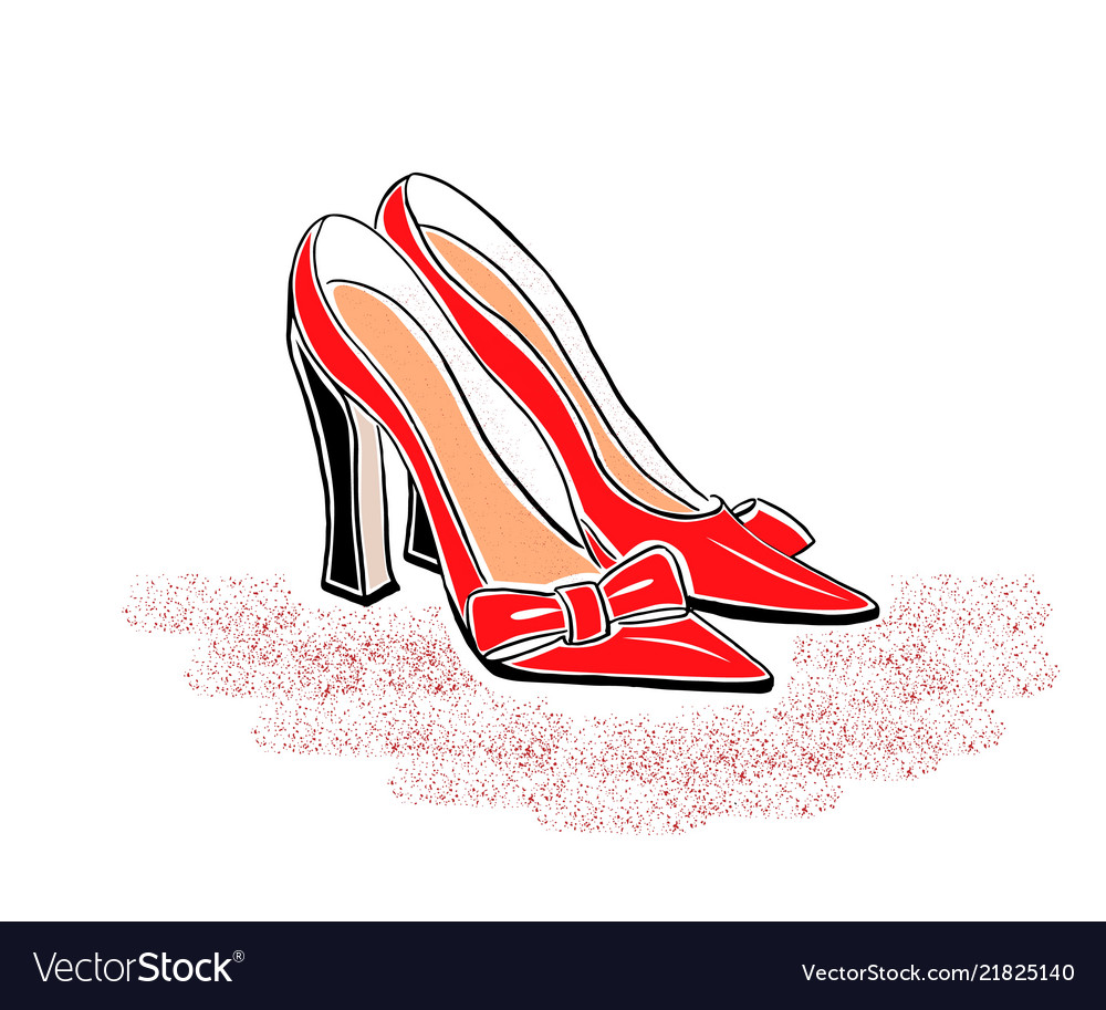 Hand drawin shoes on a high heel