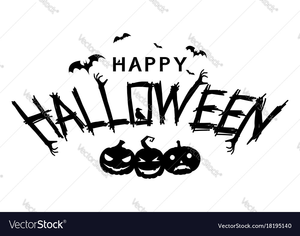 Happy halloween text banner