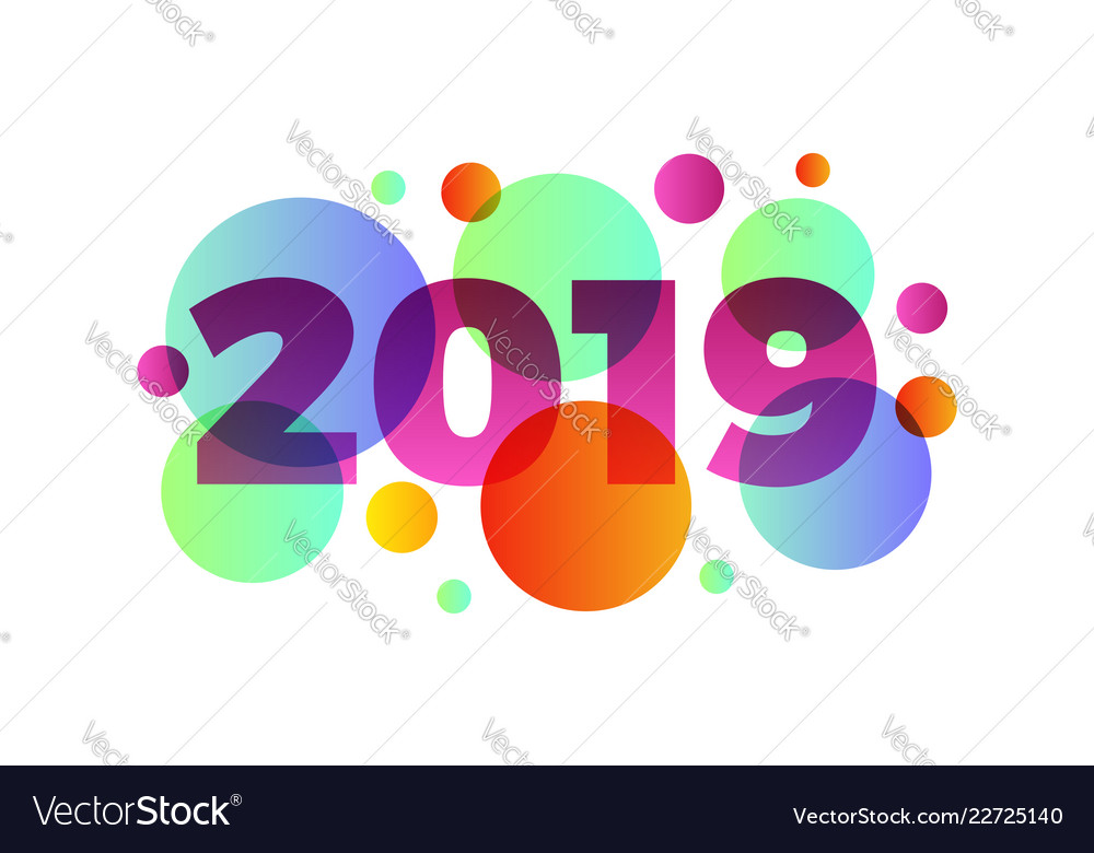 Happy new year 2019numeral 2019 colorful 2019