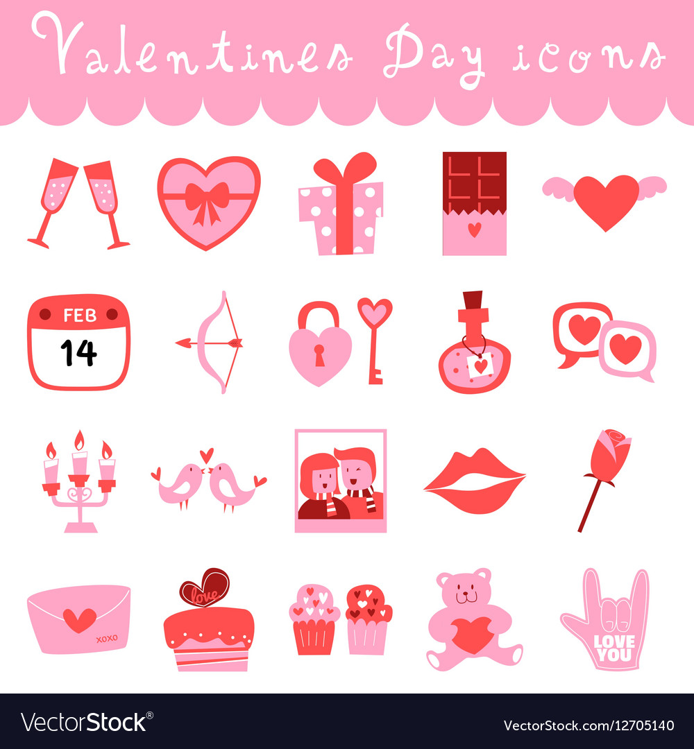Happy Valentines Day Icons Royalty Free Vector Image