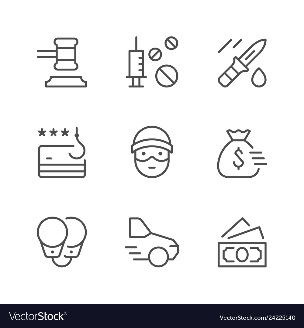 Set line icons criminal
