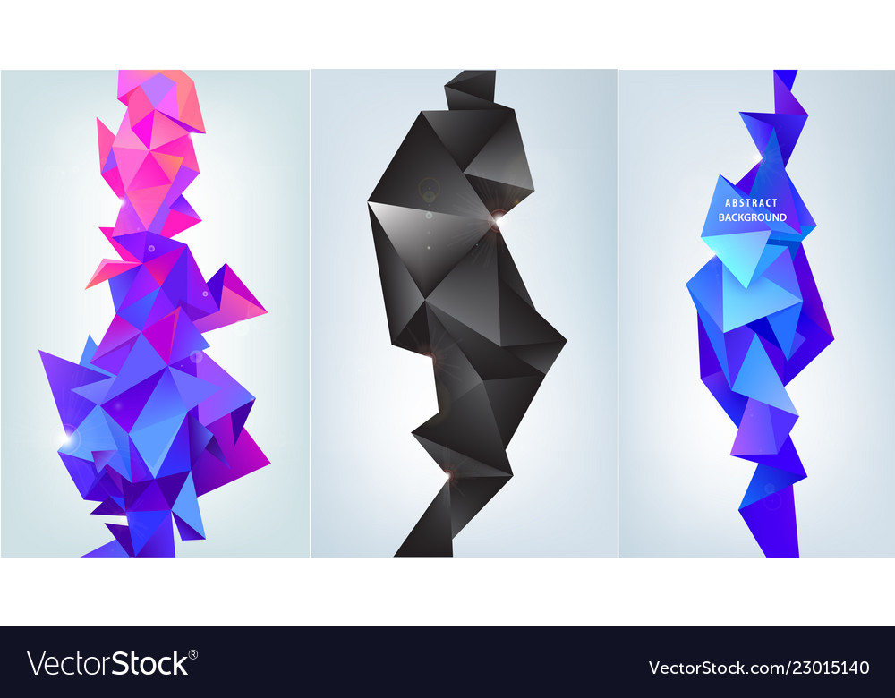 Set of abstract vertical facet banners 3d