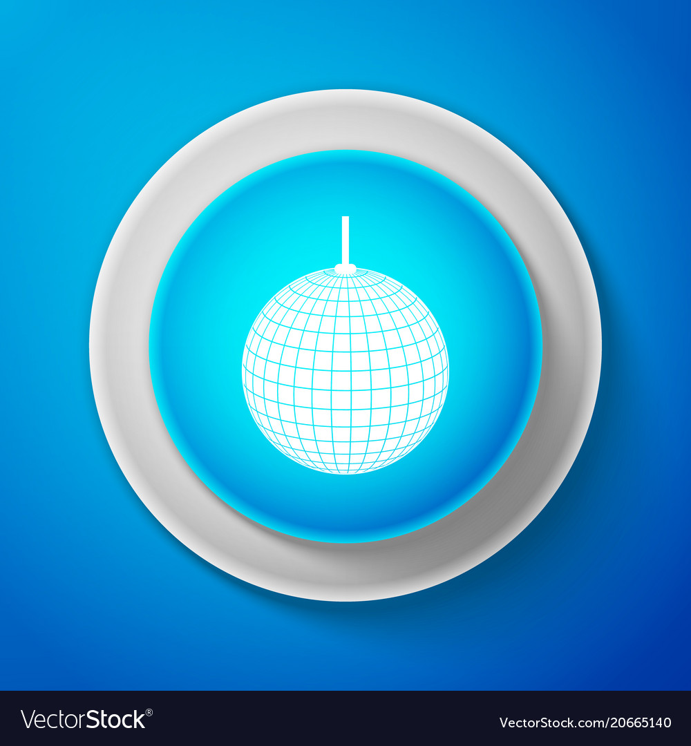 White disco ball icon isolated on blue background