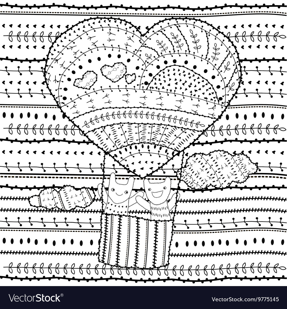 Adult coloring page Heart-shaped hot air balloon vector image