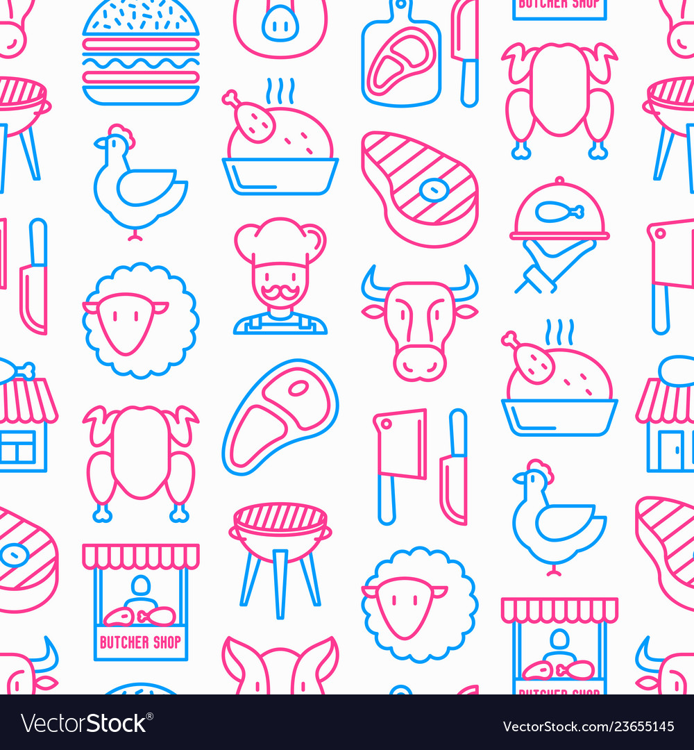 Butcher shop seamless pattern with thin line icons