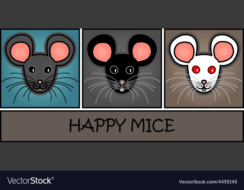 Cartoon mice header vector image