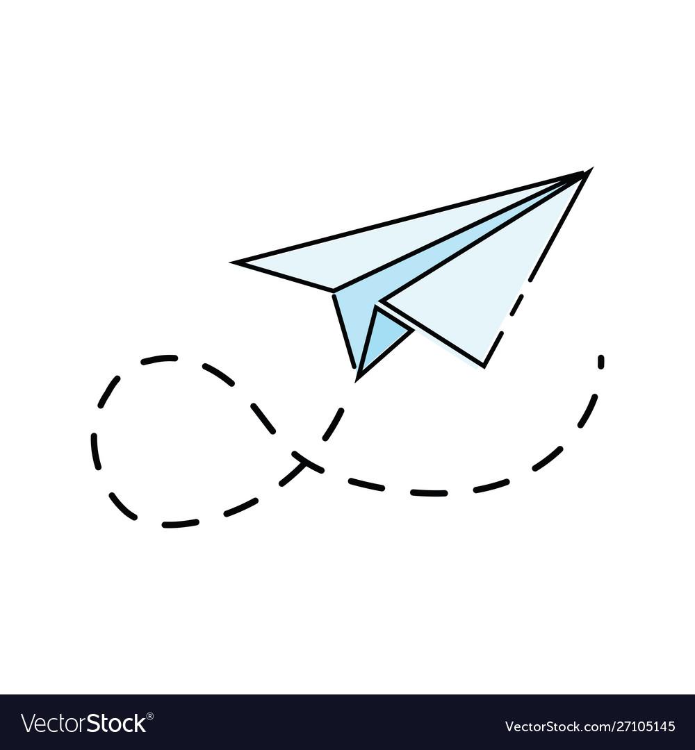 Cartoon Paper Airplane Logo Aircraft Made Vector Image