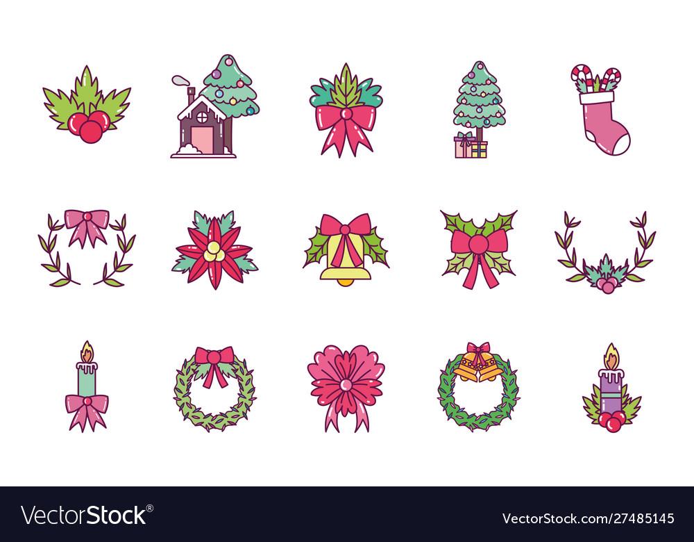 Celebration decoration merry christmas icons