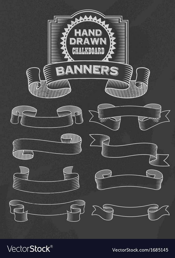 chalkboard banner and ribbon design set royalty free vector