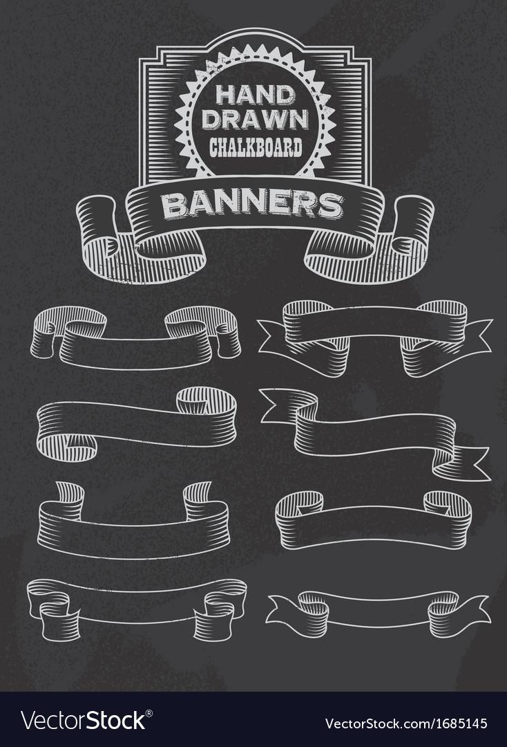 Chalkboard Banner and Ribbon Design Set vector image