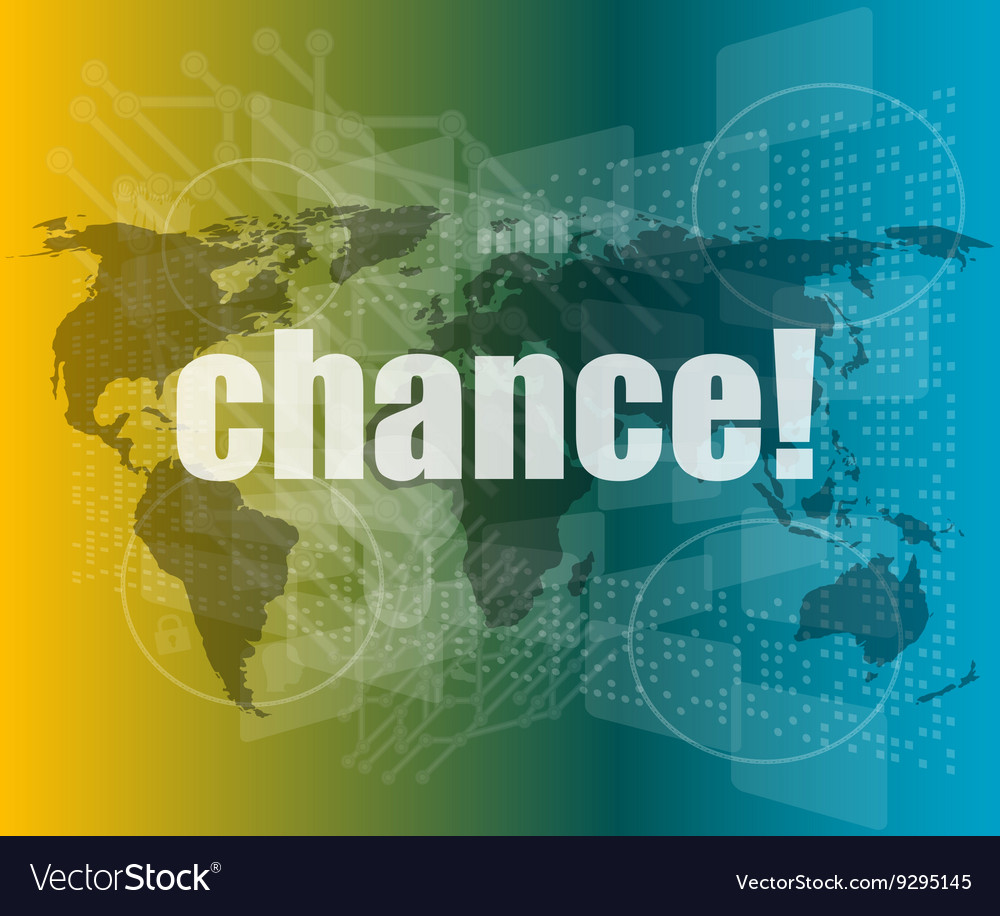Chance text on digital touch screen interface vector image