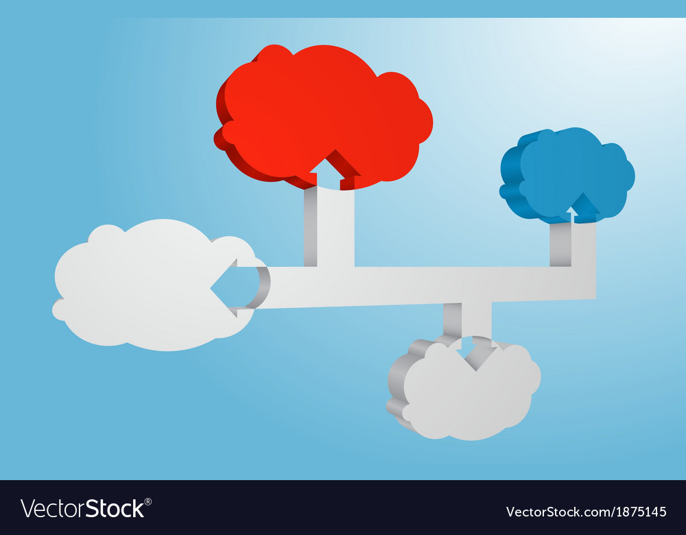 Connected 3D Clouds Abstract Infographic Element vector image