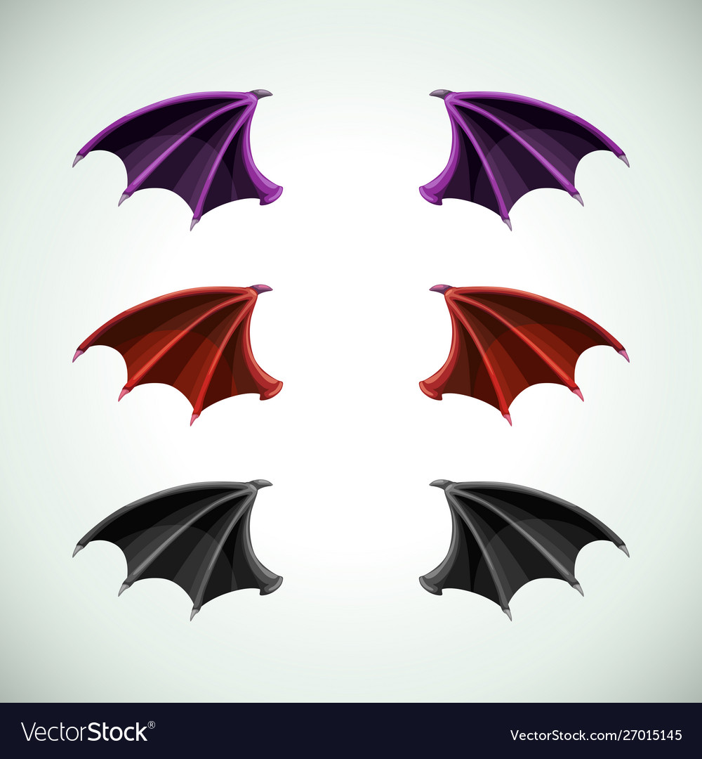 Demons wings set halloween decor icons