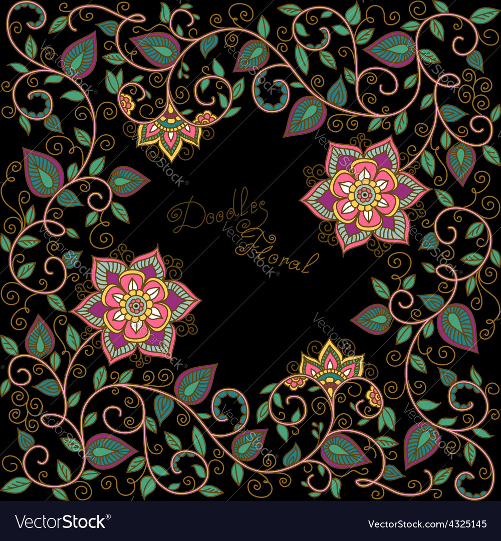 Floral Pattern On The Black Background Royalty Free Vector