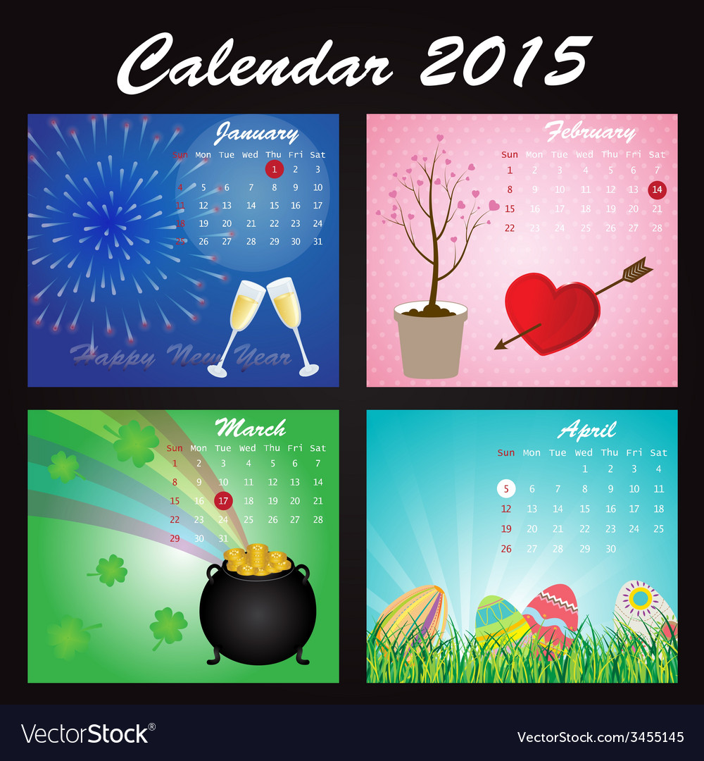 Holiday Calendar of 2015 vector image