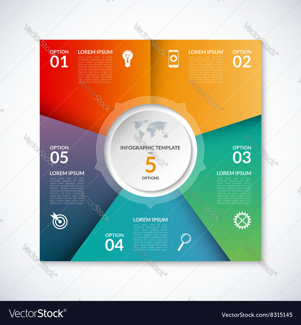 Infographic square template with 5 options