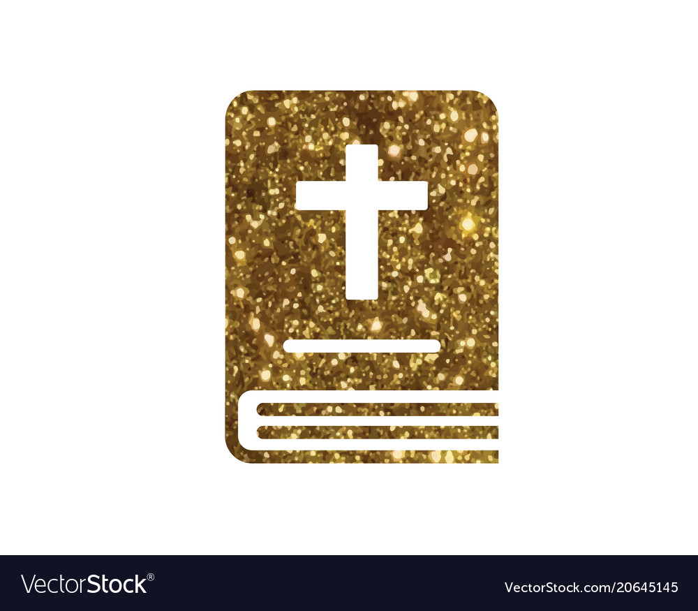 Isolated glitter golden holy bible book icon