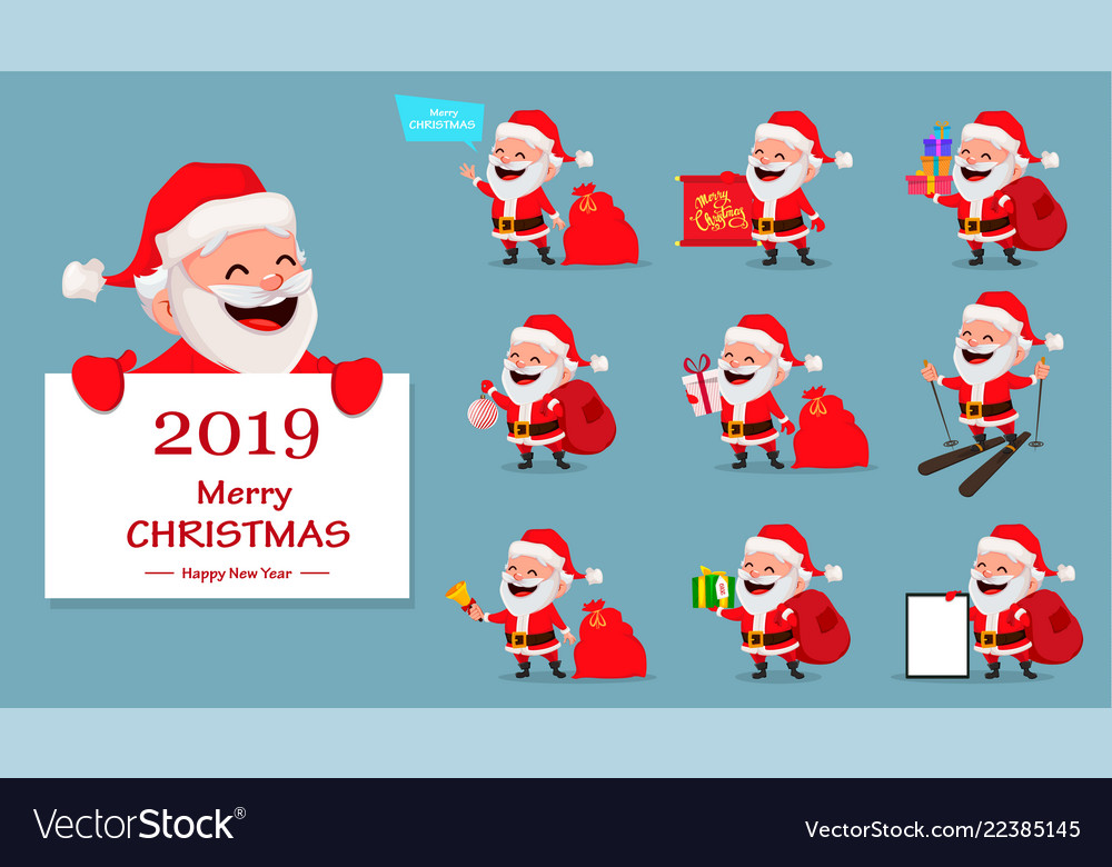 Merry christmas funny santa claus set