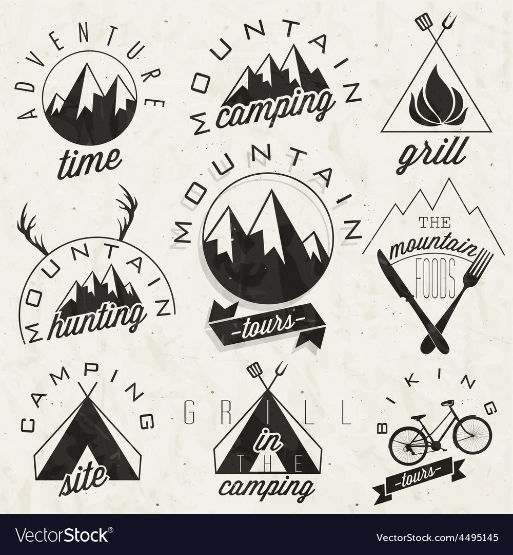 Mountain Expedition Symbols And Signs Royalty Free Vector