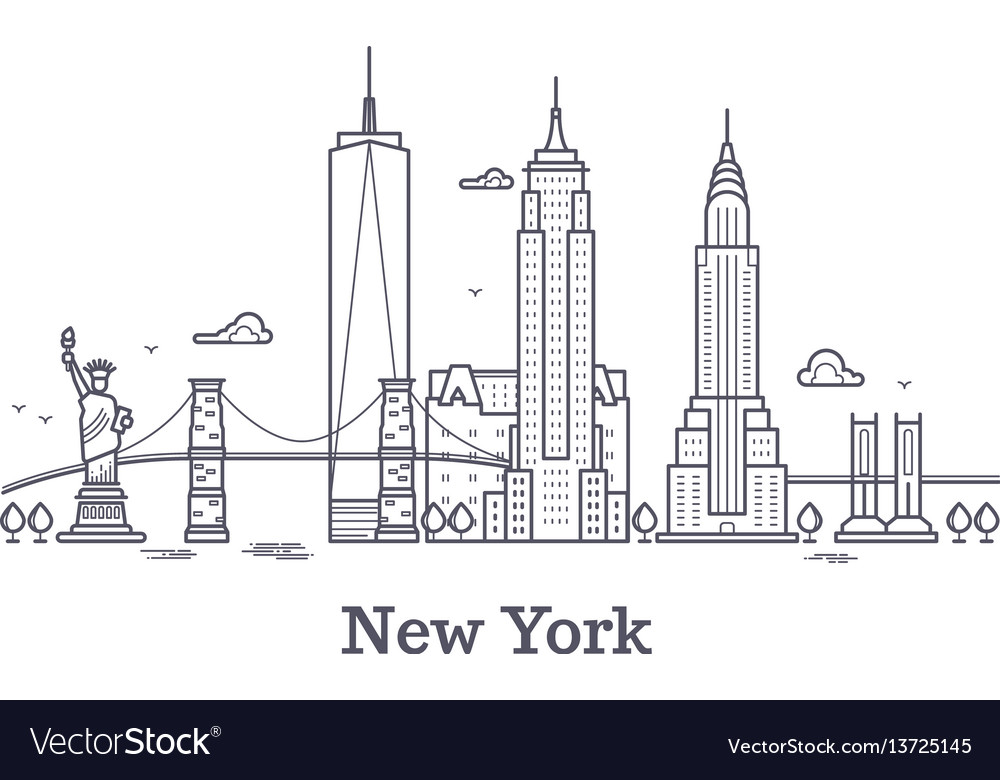 New york city outline skyline nyc line silhouette