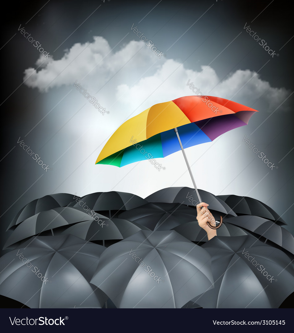 One rainbow umbrella standing out on a grey