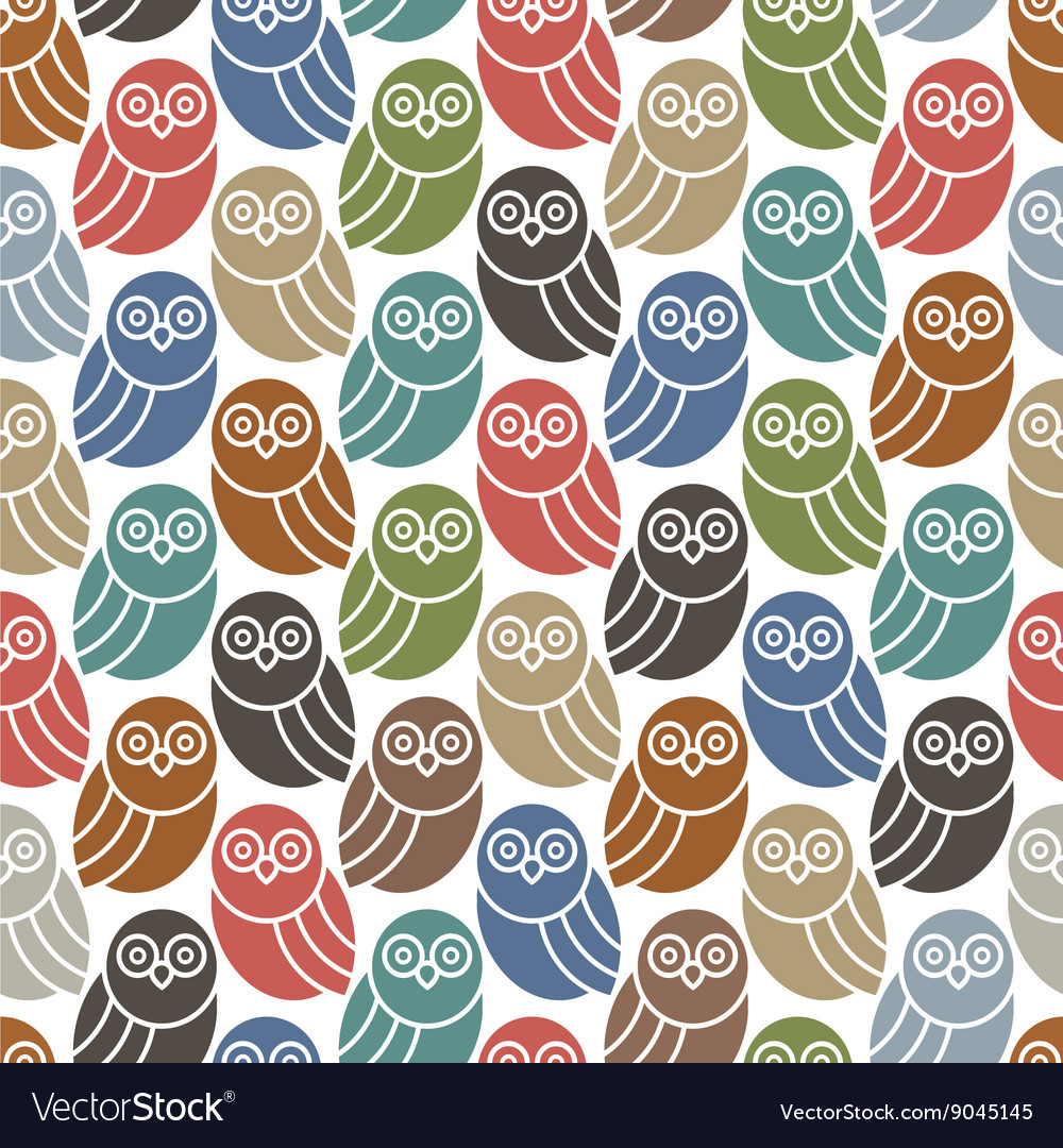 Seamless pattern with cute owls in retro colors