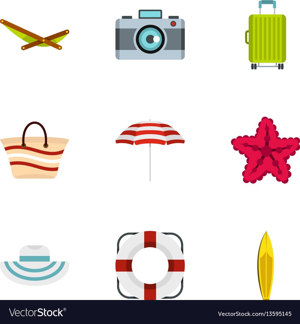 Summer icons set flat style