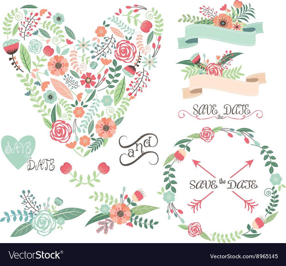 Wedding Floral Graphic Elements Labels Ribbons