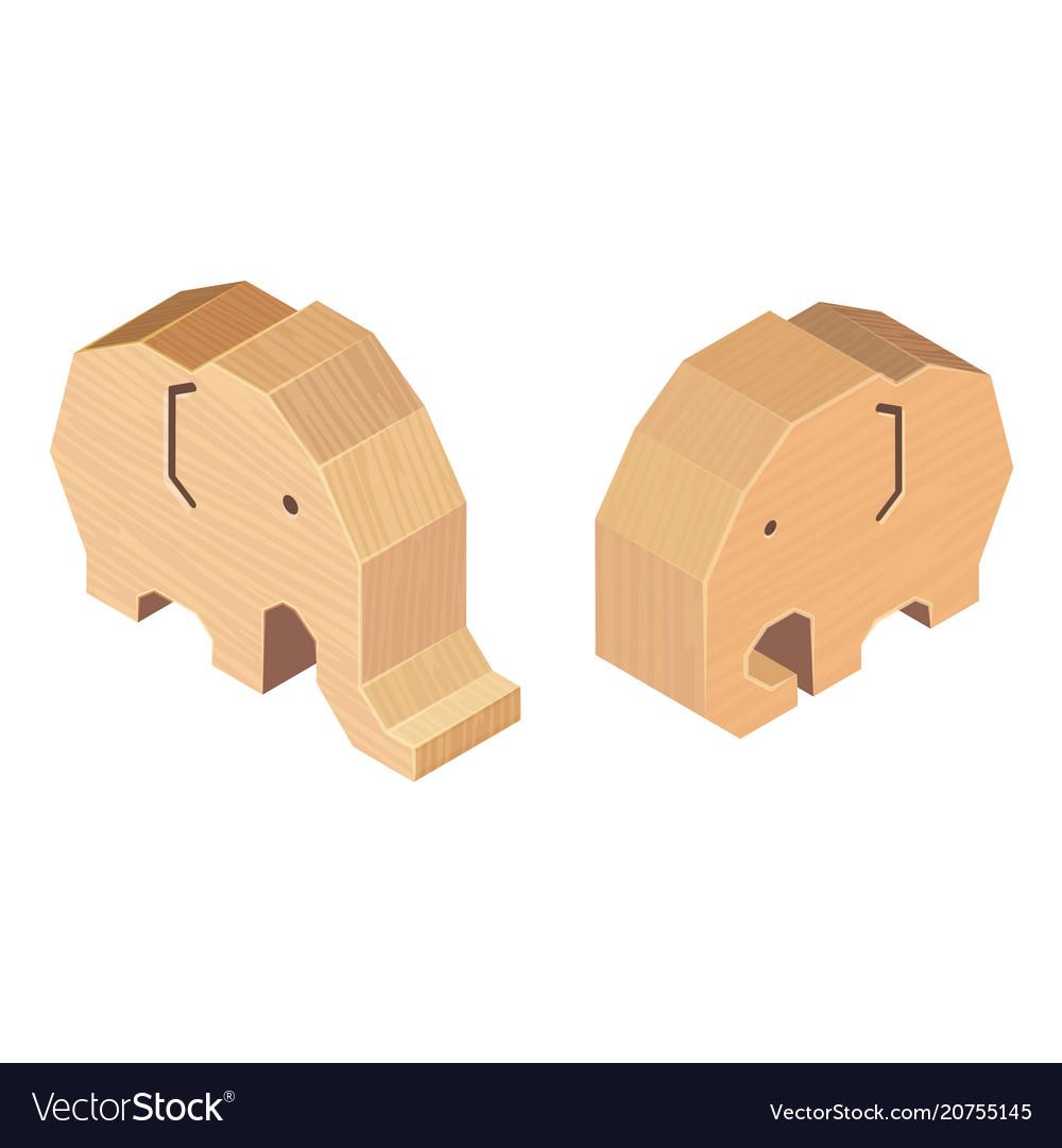 Wooden handcraft elephant on white background