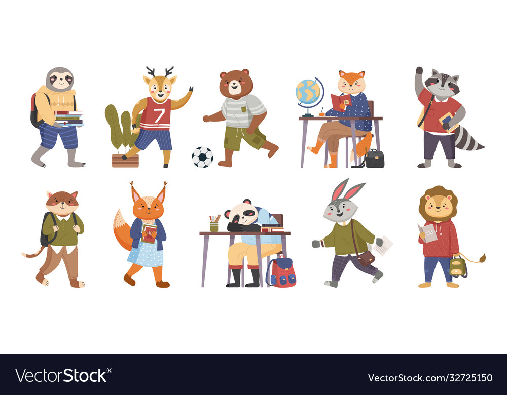 Animals students funny collection in cartoon