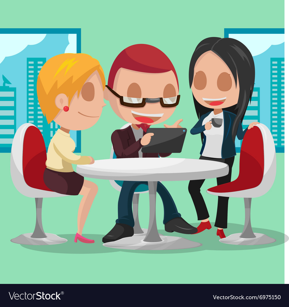 Business Group Cartoon Character Meeting