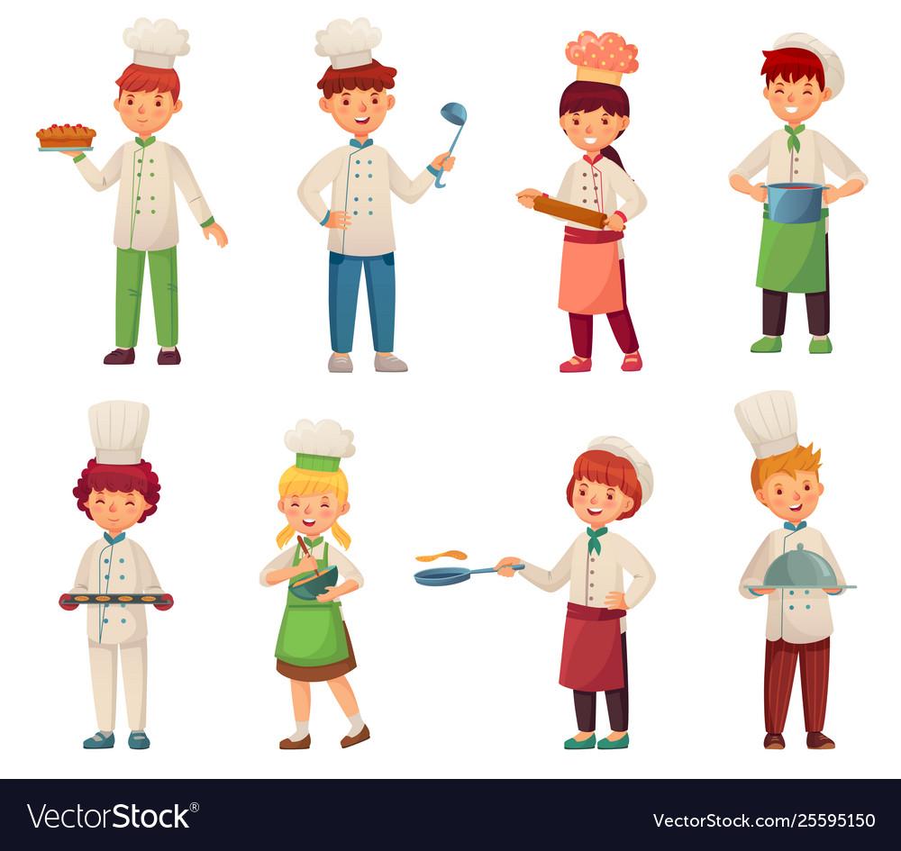 Cartoon cooking children little chef cooks food