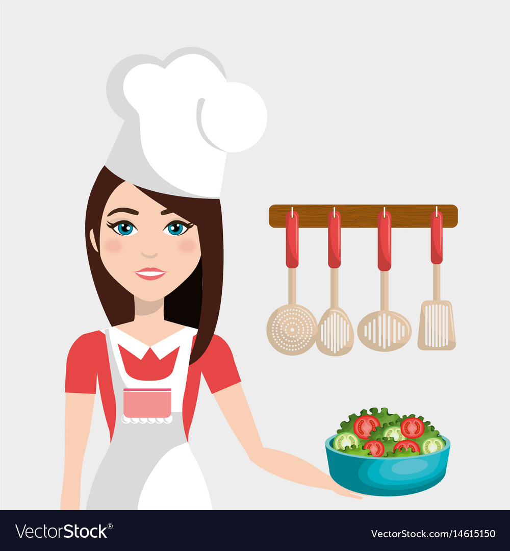 Cute woman cooking in the kitchen Royalty Free Vector Image
