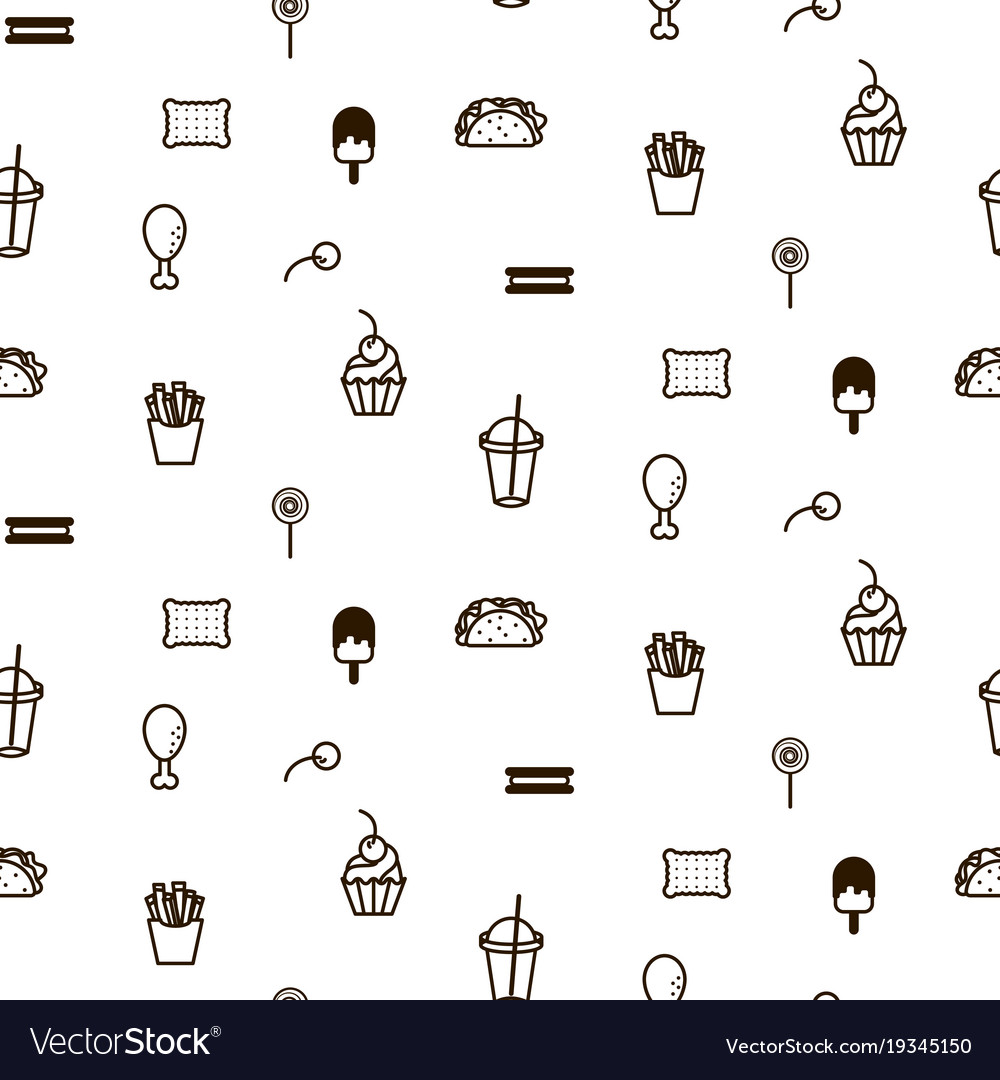 Fast food sweet icon style seamless pattern