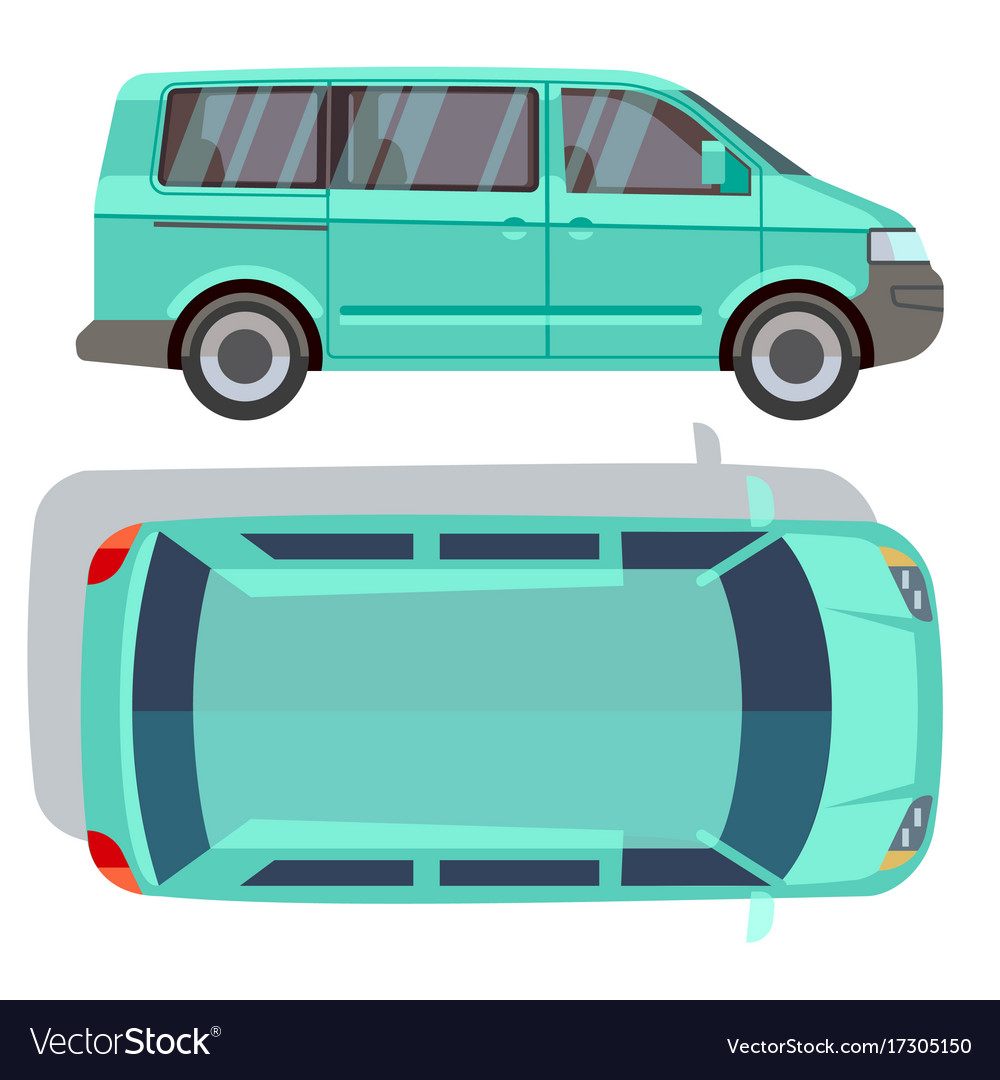 Flat-style cars in different views blue