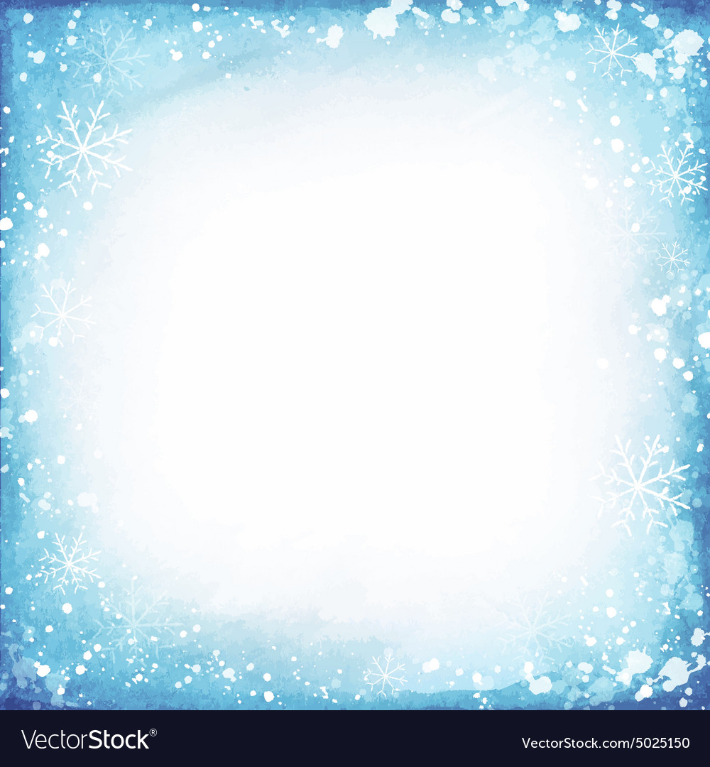 Frame of snowflakes on a watercolor background