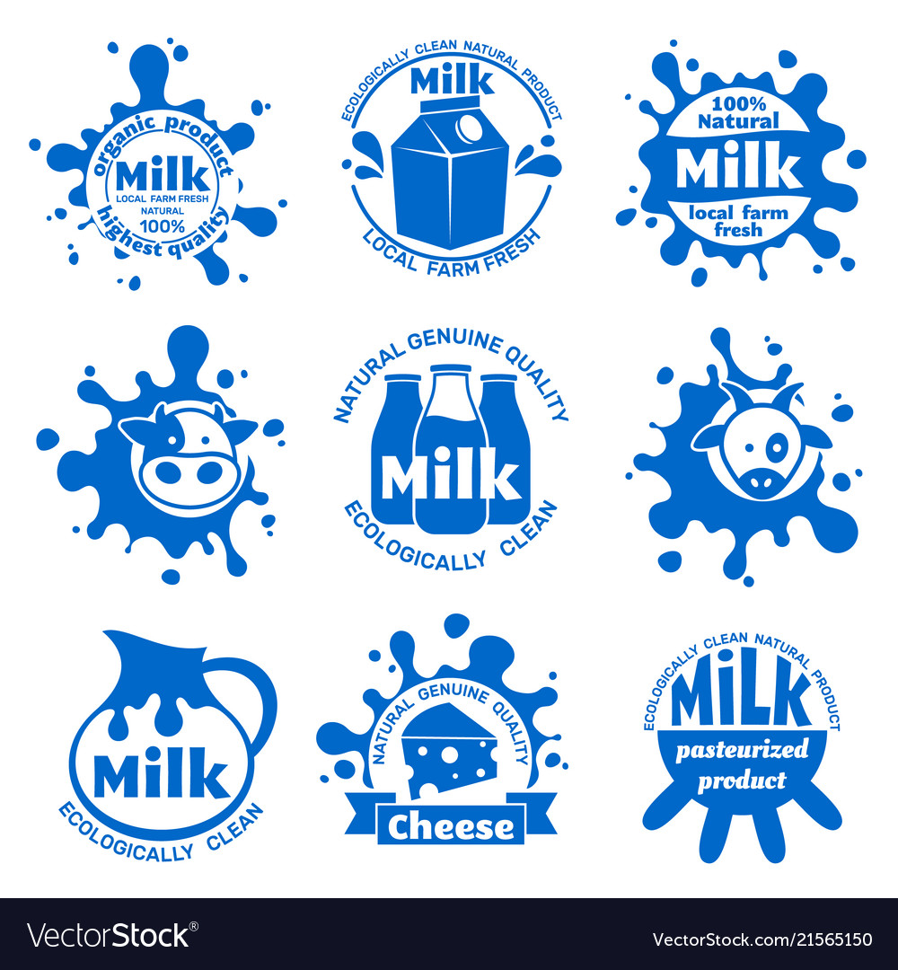 Fresh farm cow milk labels healthy dairy blue