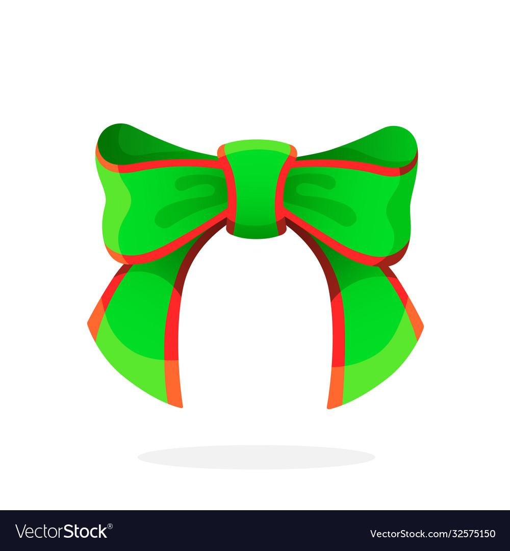 Green christmas bow-knot ribbon