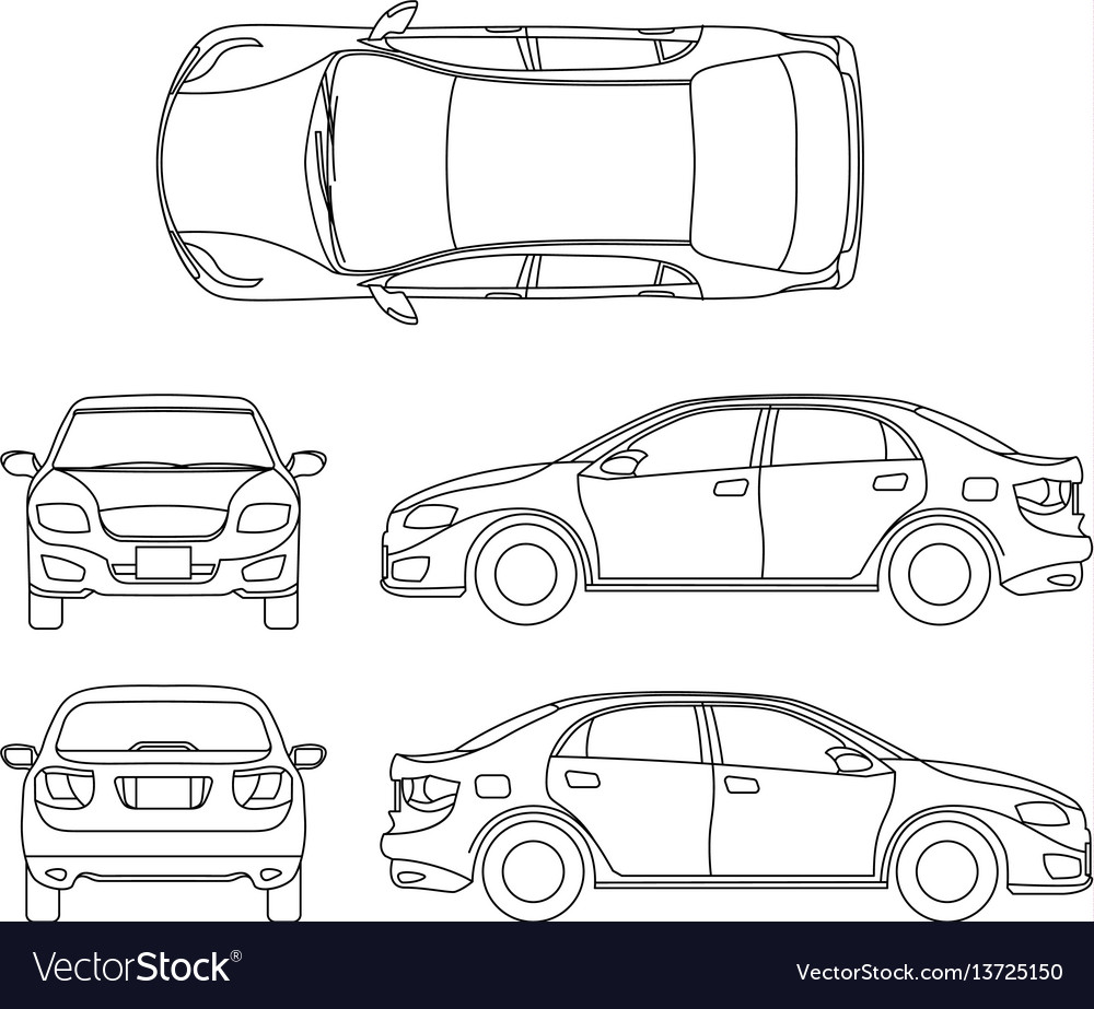 High Quality Outline Sedan Car Drawing In Different Vector Image