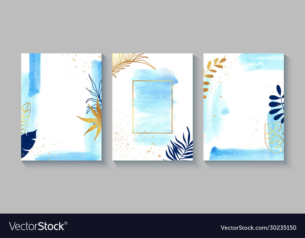 Set creative cards with blue watercolor golden