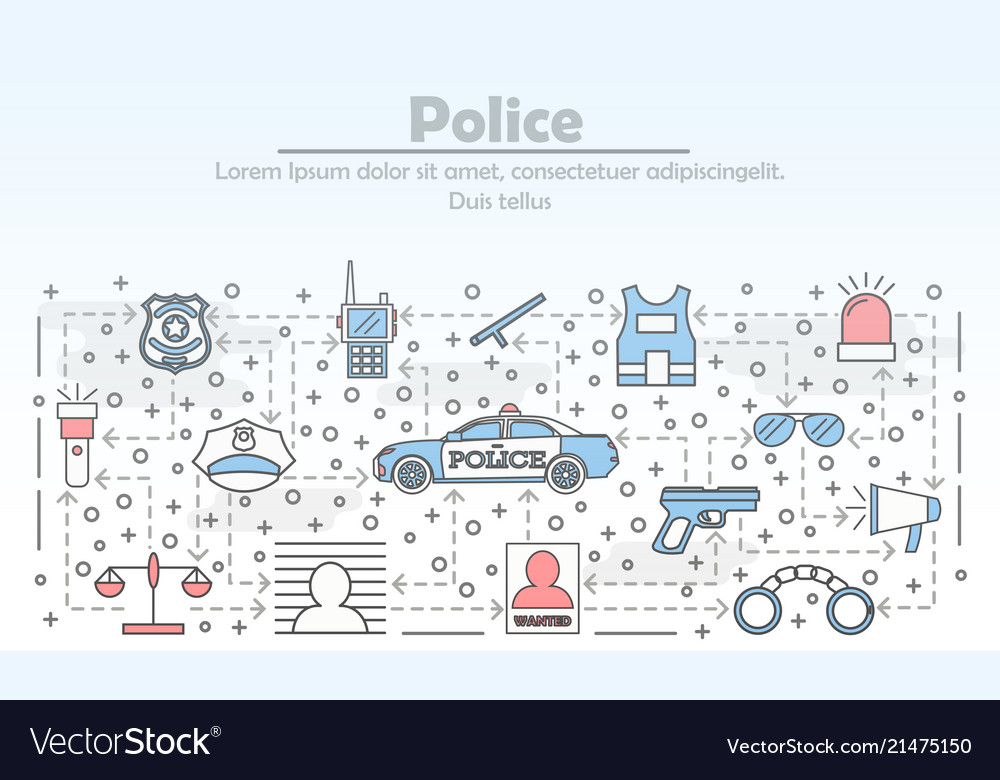 Thin line art police poster banner template