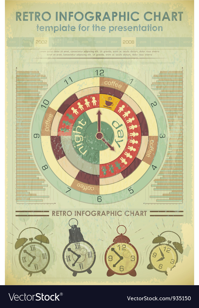 Time infographics retro vector image